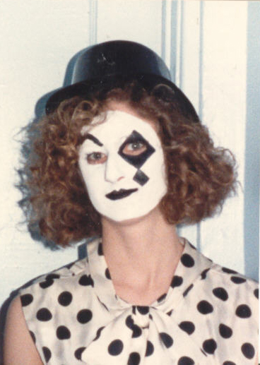 Miriam in clown makeup